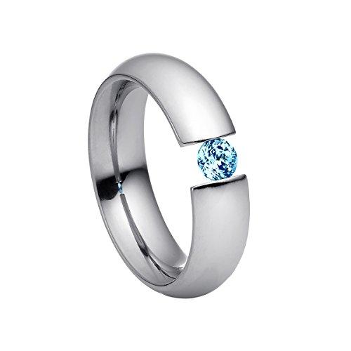 Heideman Damen-Ring intensio poliert Gr.66 Swarovski zirconia sky blue 4 mm Ringe mit Stein Zirkonia Diamant Edelstahl Größe 66 (21.0) hr2002-3-5-66 (4 Stein-diamant-ring)