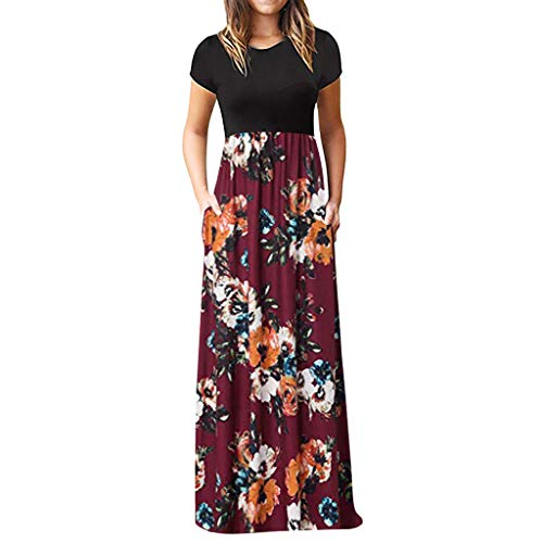 Saeder 【S-XXXL Damen Lang Sommerkleid Swing Blumenkleid Strandkleid Partykleid üBerdimensional Kimono Tunika Floral Abend Party Cocktail Kleid Minikleid Retro Kleider Hepburn Stil(Wein,L)