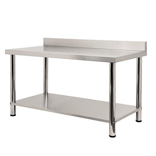 SAILUN® Edelstahl Arbeitstisch Gastro Küche Tisch Gastronomie Edelstahltisch mit extra großer unteren Ablagefläche (L x B x H: 150 x 60 x 85 cm, mit Aufkantung)