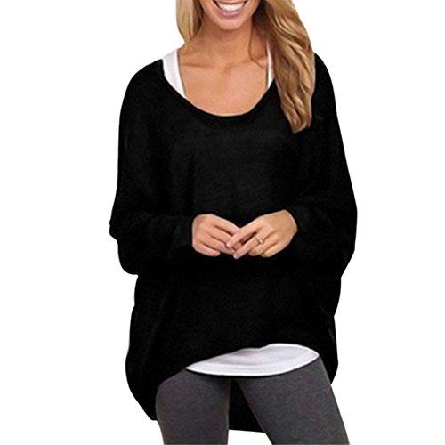 iBaste Oversize Shirt für Damen Blusen Langarm Asymmetrisch Shirt Lockere  Oberteil Tunika damen Tops Übergröße S3XL Schwarz