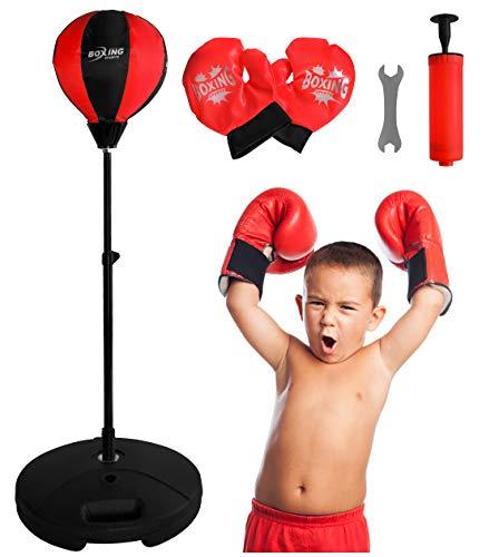 ISO TRADE Punchingball Boxen Set mit Boxhandschuhen & Boxbirne für Kinder höhenverstellbar von 70 bis 104 cm 9536