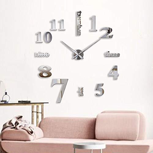 Decalmile Reloj Pared 3D Silencioso DIY Grande Espejo