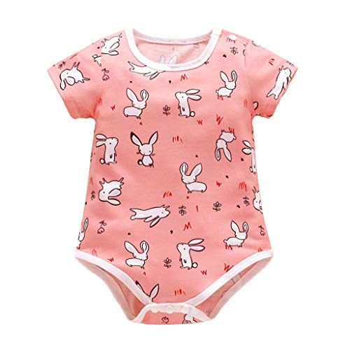 JUTOO Infant Baby Kurzarm Ostern Tag Kaninchen Print Jumpsuit Strampler Kleidung (Rosa,90)