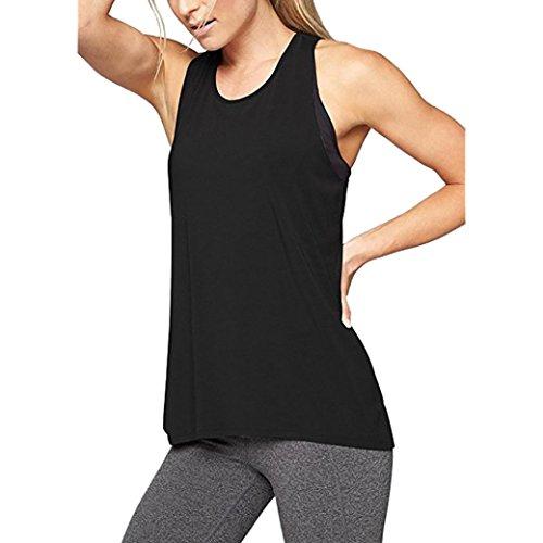 JUTOO Dawomen Cross Rücken Yoga Shirt ärmellos Racerback Workout Active Tank Top(Schwarz, EU:36/CN:S)