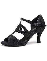 JSHOE Mujer Sexy Salsa Jazz Dance Shoes Salón De Baile Tango Latino Zapatos De Baile Zapatos De Tacón Alto,Gold-heeled7.5cm-UK7.5...