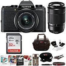 Fujifilm X-T100 Mirrorless Camera Body with XC15-45mm and XC50-230mm Lens Bundle (Black)