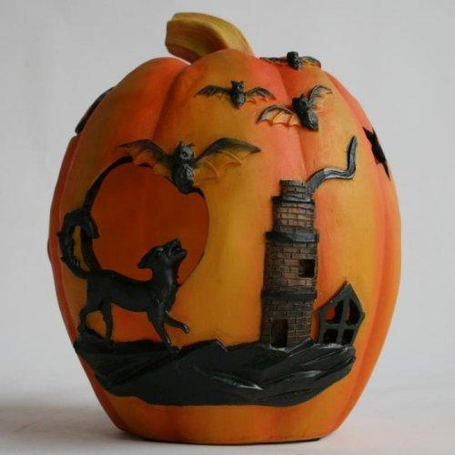 Halloween Deko Kürbis mit LED beleuchtet 20 cm