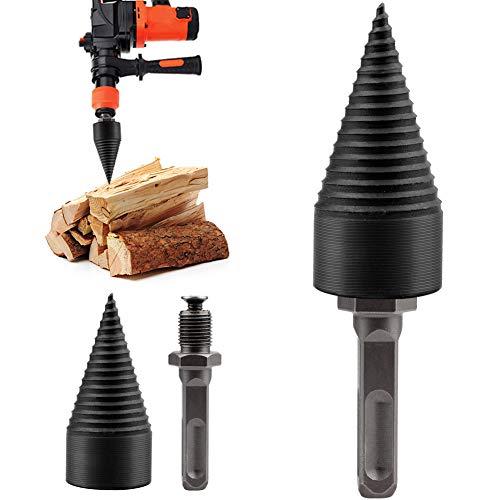 Lulalula Foret à bois en forme de cône pour fendre le bois, foret à tête hexagonale à haute...