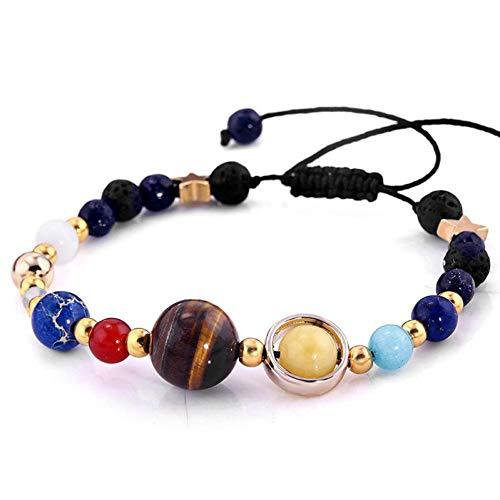 HMKLN Universum Galaxie Die Acht Planeten Im Sonnensystem Guardian Star Naturstein Perlen Armband & Armreif Für Frauen & Männer Geschenke - Rock Star Energy