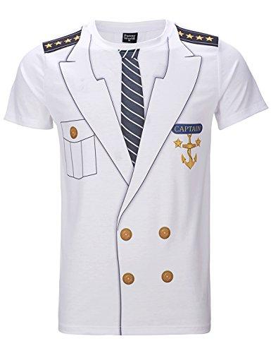 Funny World Herren Kapitän Kostüm T-Shirts (XL, (Soldat Für Kostüme Männer)