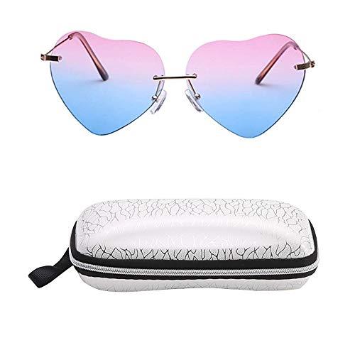 INTVN Sonnenbrille Sommer Mode Herz Geformt Sonnenbrille mit Brillenetui für Frauen