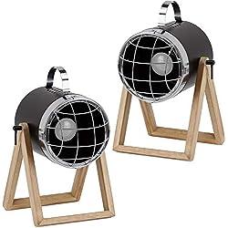 BRUBAKER - Lampe de table/de chevet - Lot de 2 - Design industriel - Hauteur jusqu'à 42 cm - Pied en Bois - Spot en Métal/Noir