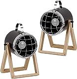 BRUBAKER 2er Set Tisch- oder Bodenlampen Strahler Industrial Design - bis 42 cm Höhe - Fuß aus Holz - Scheinwerfer Metall Schwarz