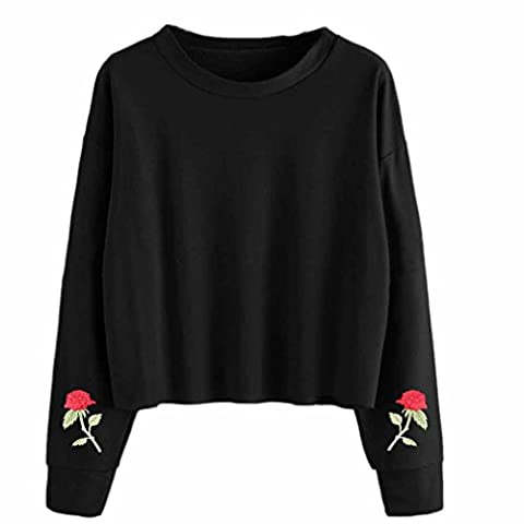 Sweatshirt Femmes Angelof Pull Filles A Capuche Hiver Broderie Court Dame Pas Cher Court Hoodie Manches Longues Top Jumper Blouse (S)