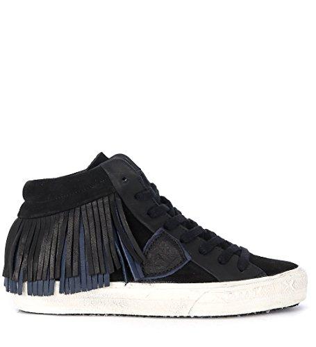 Philippe Model Sneaker Classic Middle in Pelle Nera con Frange Nero
