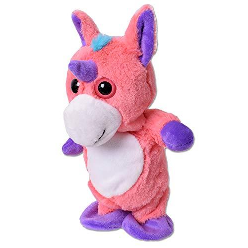 TE-Trend Sprechendes Laufendes Tier Einhorn Pferd Labertier Nachplapper Plüschtier Stofftier Nachsprechend 20cm Rosa Mehrfarbig