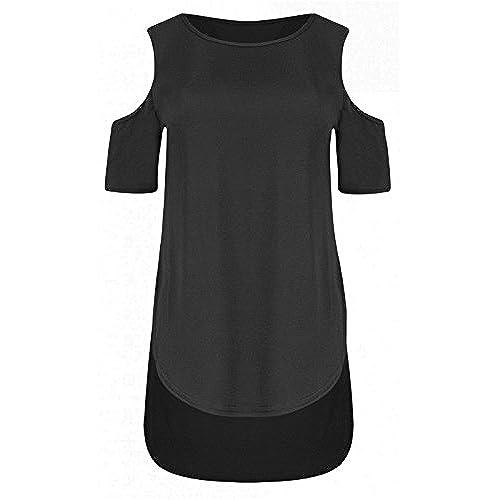 Janisramone Womens New Cold Cut Out Shoulder Plain Tunic Top Ladies Hi Lo  Dip Hem Curve Hem T Shirt Top