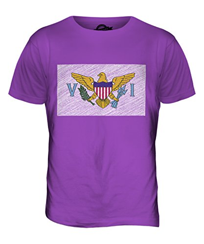 CandyMix Amerikanische Jungferninseln Kritzelte Flagge Herren T Shirt Violett