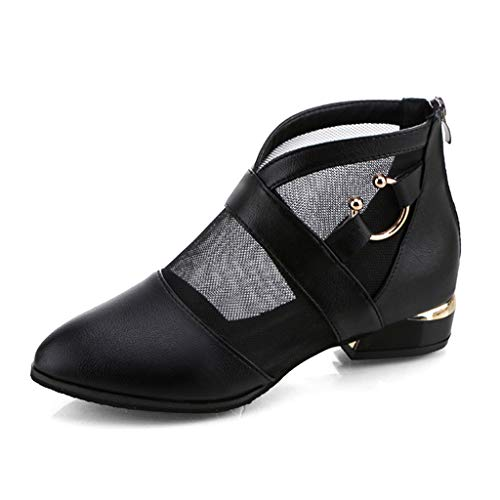 BHYDRY Moda para Mujer de Tul Elegante Cuadrado talón Romano Zapatos Casuales Botas Cortas