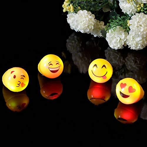 Cloverclover 1pc Emoji Lächeln Gesicht Beleuchtung Spielzeug 9 Styles Zufall LED-Farbe Flashing Latex-Ring für Partei Halloween-Kind-Geschenk