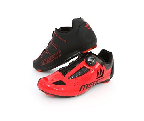MSC Bikes Aero Road Zapatillas, Unisex Adulto, Rojo, 45