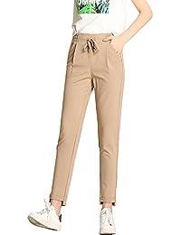 Yonglan Mujer Pantalones Lápiz Capri Tallas Grandes Casual Cordón Cintura  Elástica Sweatpant Pantalón Harem ... f09cb4f6bce3