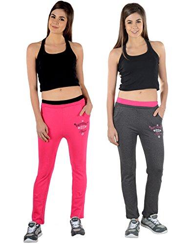 2Day-Womens-Solid-Cotton-Track-Pants-FushiaDark-Grey-Pack-Of-2