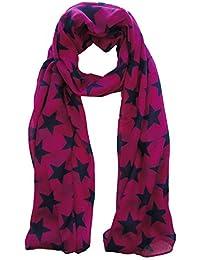 Cerise Pink & Navy Blue Star Scarf Ladies Fashion Scarves