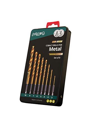 Metallbohrer-Set Cobalt Ø 2.0-10.0 Sechskantschaft, Titanium Coating, HSSCo (M35) | Hex Shank Drill Bit Set