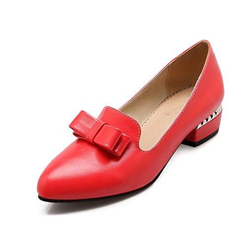 VogueZone009 Femme à Talon Bas Couleur Unie Tire Matière Souple Pointu Chaussures Légeres Rouge