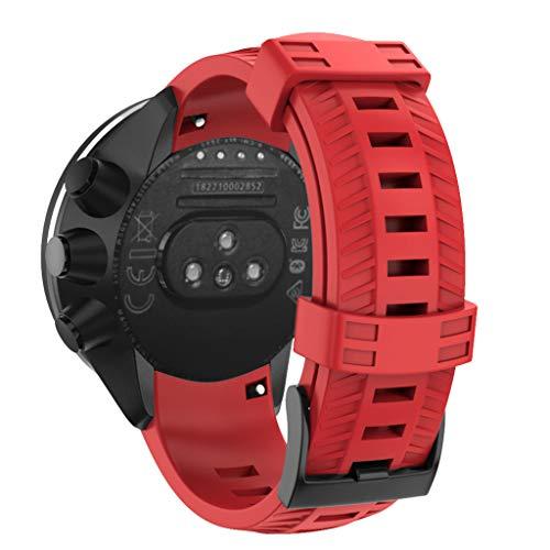 Uhrenarmband Kompatibel SUUNTO 9/ Baro, Weich Silikon Armband Doppelte Farbe Sportarmband Ersatzarmband für SUUNTO 9/ Baro (❤ Rot)