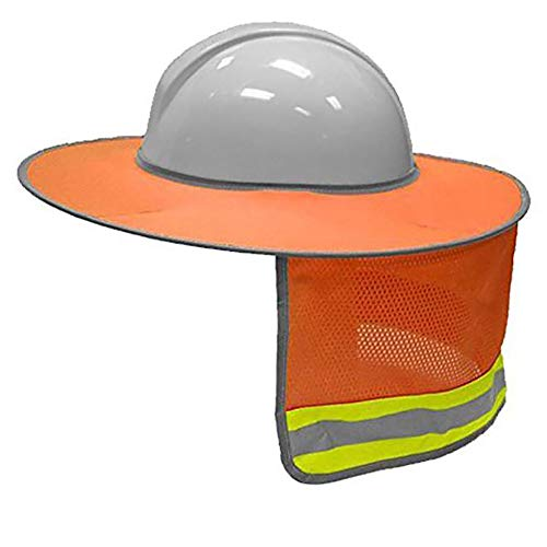 (LBAFS BAU-Sicherheits-Harter Hut-Nackenschild-Sturzhelm-Sonnenschutz Reflektierende Streifen-Ausrüstung,Orange)
