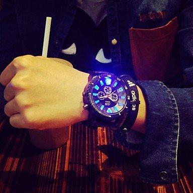 Fenkoo Herren Beobachten Quartz Modeuhr LED Silikon Band Armbanduhr