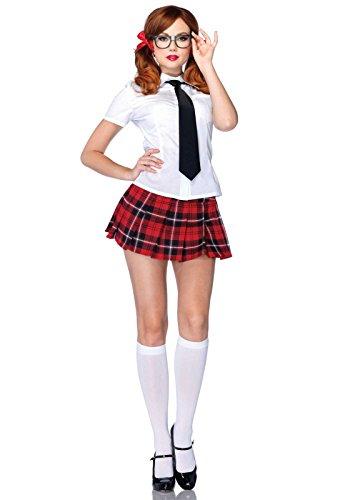 Preisvergleich Produktbild Leg Avenue 85112 - 4Tl. Kostüm Set Private Schule Sweetie, Größe S, weiß, Dessous Damen Reizwäsche