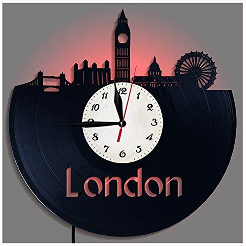 ZhangXF Tour de Londres Skyline Record de Vinyle Horloge Murale, LED Lumineux 12 Pouces Rétro Record de Vinyle Horloge Meilleur Cadeau Décoration Sept Couleurs (Hotel Londres)