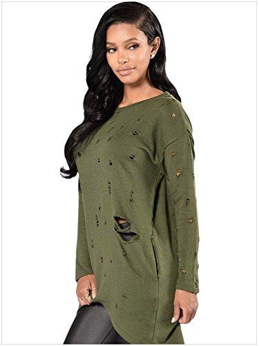 Blansdi Femmes Casual Lettres Mode Manches Longues à robe Pull Shirt Sweatshirt Haut Blouse Armée Verte