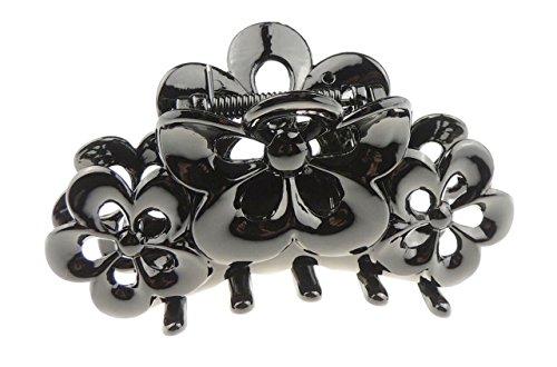 Schwarzes Acryl 9cm Triple Daisy Flower Haarkralle Haarklemme