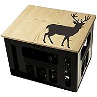 Geschenkidee Geburtstagsgeschenk Bierkastensitz Bierkistensitz Sitzauflage Bierkiste Bierkasten Sitz Hocker Holz Handmade Hipster mit Motiv Tiere Hirsch