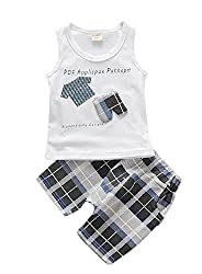 Mummamia Plaids Check Shorts & Vest Boys Set - Black
