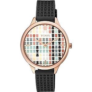 Reloj-Tous-900350135-Tartan-Acero-IP-Rosado-con-Correa-de-Silicona-Negra