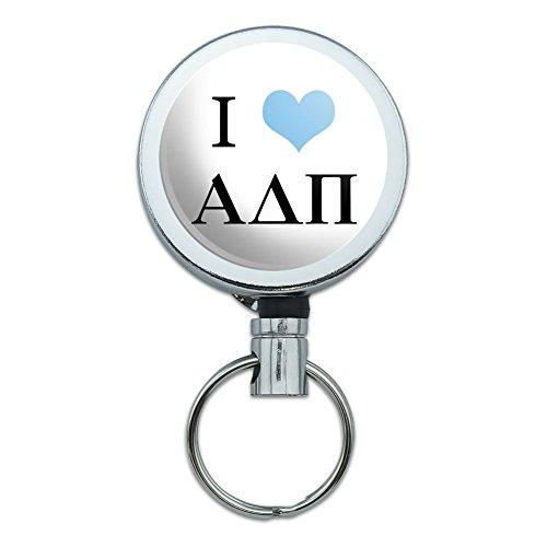 Alpha Delta PI Sorority I Love Griechische Buchstaben Offizielles Lizenzprodukt Heavy Duty Metall Retractable Reel ID Badge Key Card Tag Holder mit Gürtel Clip