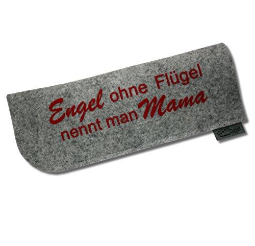 "Preisvergleich Produktbild Brillenetui ""Engel ohne Flügel nennt man Mama"" grau/rot"