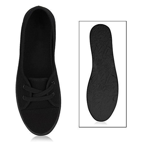 Sportliche Sneakers Damen Ballerinas Denim Stoffschuhe Schnürer Schuhe Halbschuhe Muster Lochung Flats Camouflage Spitze Flandell Schwarz Schwarz