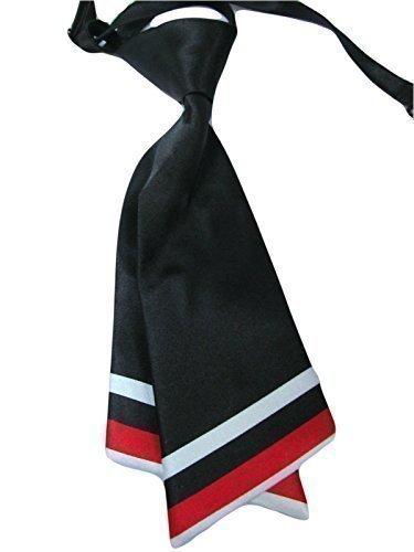 Damen mädchen mode vorgebunden satin schleife krawatte doppelschichtig Krawatte 10+ farben party kostüm von Fett-Catz-Kopie-catz - schwarz & Rotes Streifen Damen Krawatte, One size (Krawatte Streifen Krawatte Schwarzer)