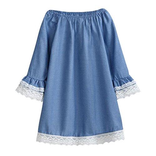Luckycat Herbst und Winterkleidung für Kinder Kleinkind Kinder Baby Mädchen Kleidung Langarm Spitze Pageant Party Prinzessin Kleid (Blau, 6T--140cm-XXL)