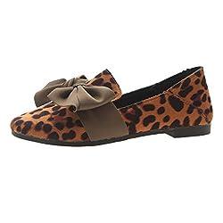 MIRRAY Frauen-Bogen-Leopard-weiche beiläufige Erbsen-Schuh-Arbeits-Schuh-Flache Frühlingsrolle-Strand-Schuhe