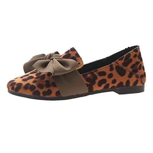Dorical Mokassin Bootsschuhe mit Bow für Damen,Frauen Wildleder Leopard Flatschuhe Low-top Loafers Weich Erbsenschuhe Casual Slippers Halbschuhe Gr 35-41(Braun,40 EU)