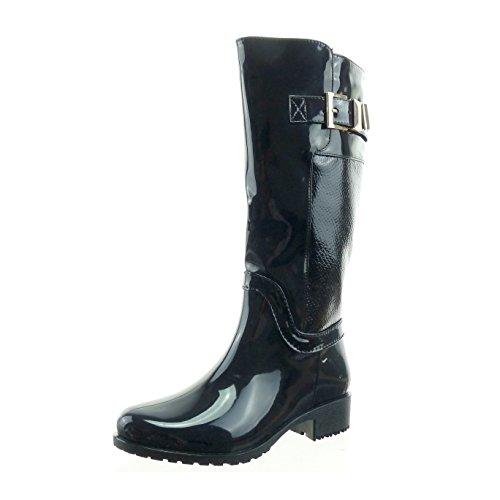 sopily-chaussure-mode-botte-bottes-de-pluie-cavalier-mi-mollet-femmes-brillant-peau-de-serpent-boucl