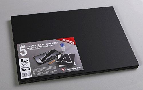 CLAIREFONTAINE Lot 5 Feuilles carton mousse 3mm A3 Noir