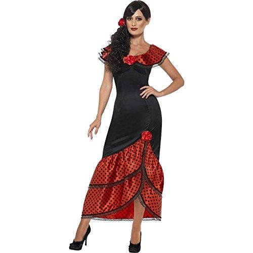 Smiffy's 45514X1 - Damen Flamenco Kostüm, Kleid und Haarschmuck, Größe: 48-50, (Ideen Kostüm Dance Black)
